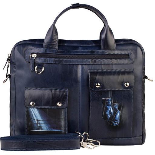 Мужская, дизайнерская сумка портфель из кожи - подарок спортсмену