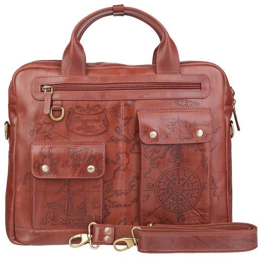 Мужская, кожаная сумка портфель - дизайнерский подарок путешественнику