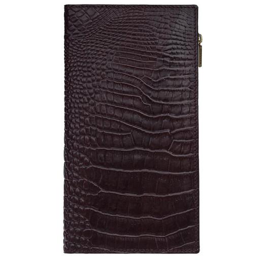 Вертикальное портмоне - Лонгер из кожи с имитацией крокодила