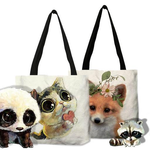 Холщовая сумка из льна - Милые животные