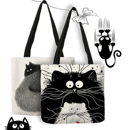 Холщовая сумка из льна черно белая - Кошки и коты