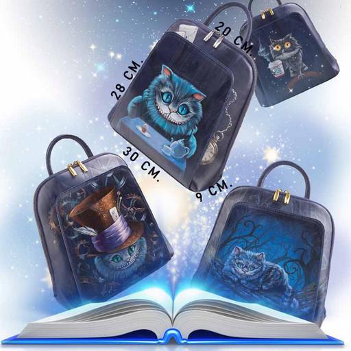 Дизайнерский женский рюкзак с росписью на коже - синий