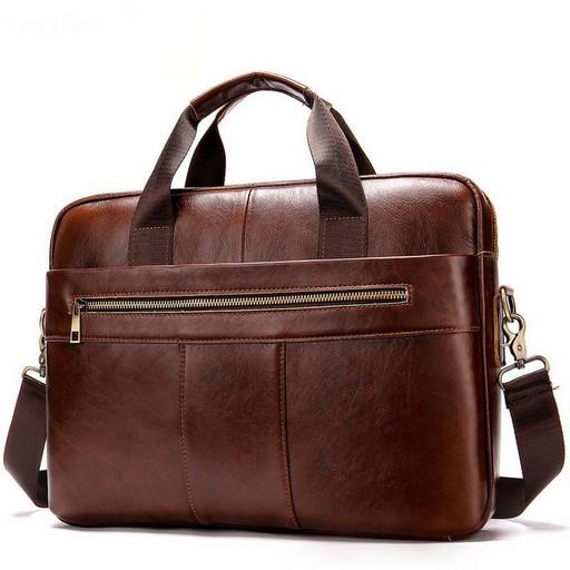 Мужская сумка портфель из натуральной кожи - с видео обзором