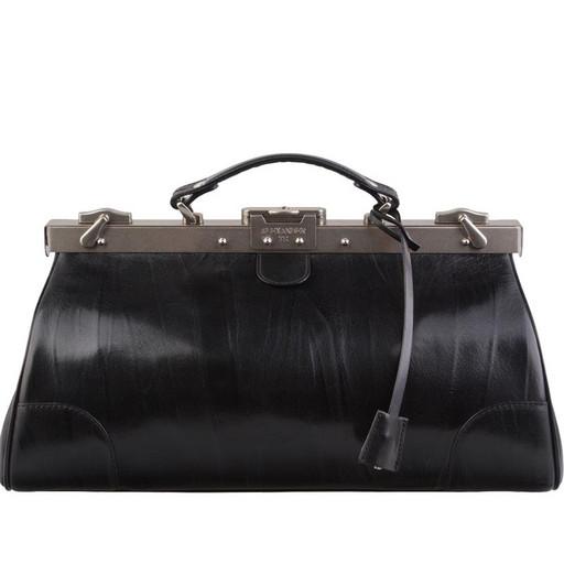Черный, кожаный саквояж с ключом - премиум модель