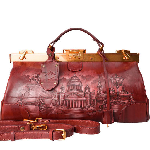 Кожаный саквояж: коричневый с дизайнерской росписью
