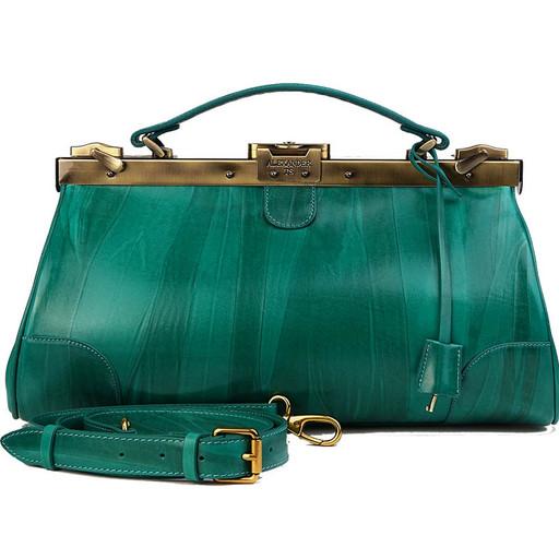 Кожаный саквояж - изумрудно зеленый