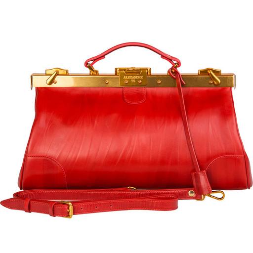Саквояж кожаный - красный Premium класса