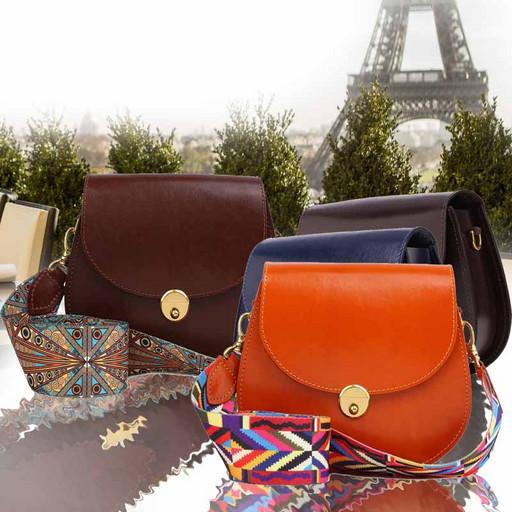 Маленькая сумка из гладкой кожи с широким цветным ремнем - Cross body