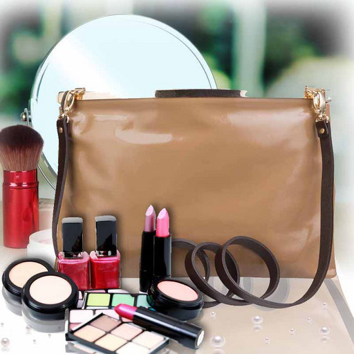 Женская сумка через плечо-лакированный клатч из натуральной кожи
