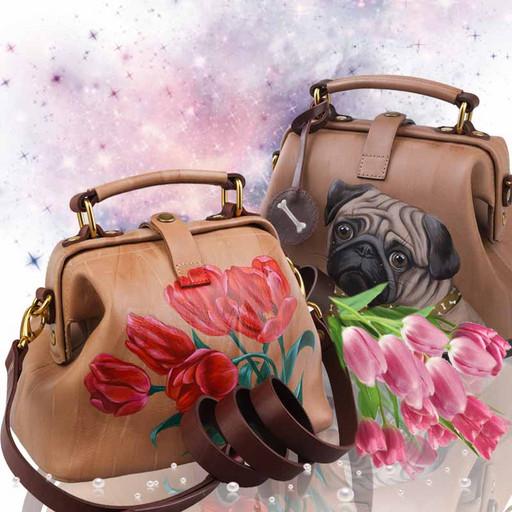 Бежевая, кожаная сумка с рисунком - ручная роспись