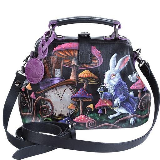 Женская сумка, черная, кожаная с рисунком - ручная роспись