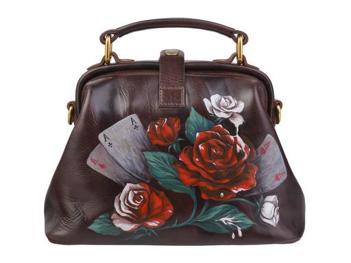 Женская, коричневая сумка - саквояж с рисунком на коже