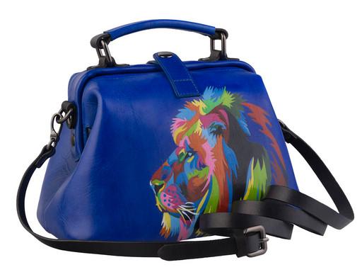 Синяя сумка саквояж, с рисунком на коже - дизайнерская ручная роспись