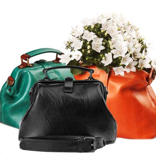 Маленькая сумка саквояж женская, из гладкой кожи