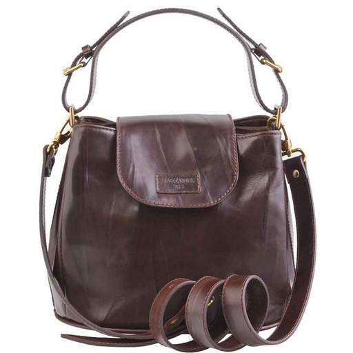 Женская, маленькая сумка из гладкой кожи - много отделений, через плечо