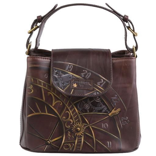 Женская сумка с дизайнерским рисунком на коже - аппликацией