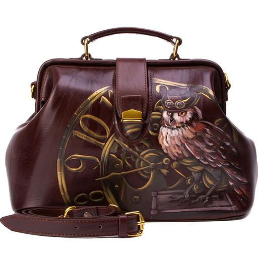 Коричневая сумка саквояж - с рисунком на коже