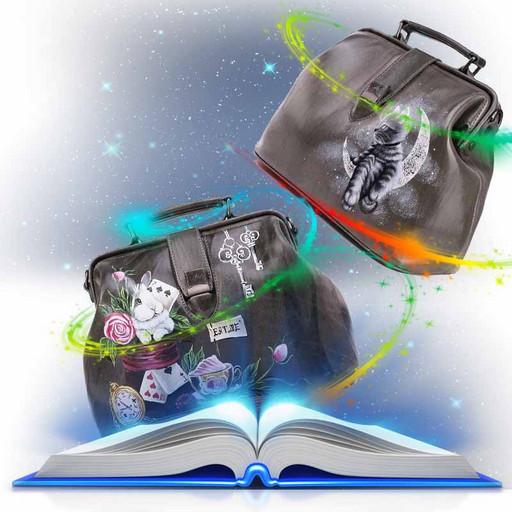 Женская кожаная сумка саквояж - светло серая дизайнерская