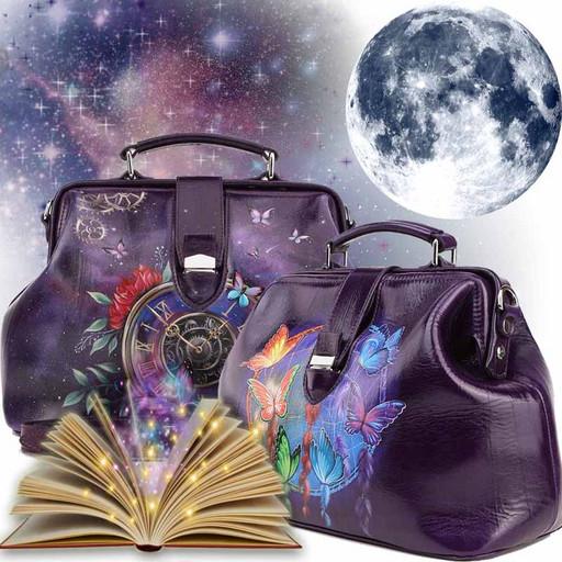 Сумка саквояж - темно-фиолетовая с рисунком на натуральной коже