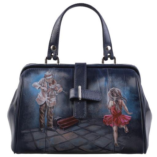 Кожаная, женская сумка саквояж от Alexander TS - ручная роспись
