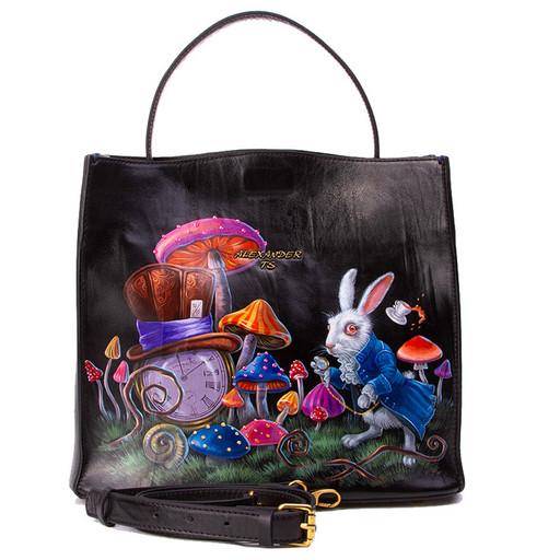 Женская сумка из гладкой кожи с рисунком - ручная роспись