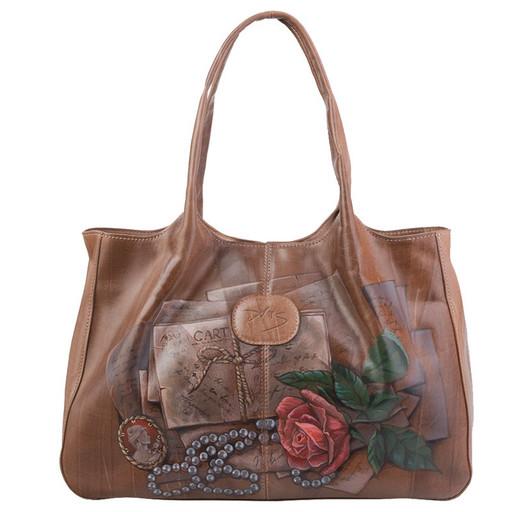 Женская, дизайнерская сумка на плечо - с рисунком ручной работы