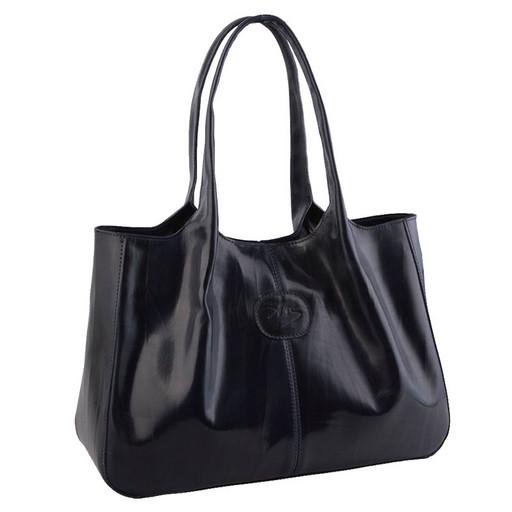 Женская, кожаная сумка с цельными ручками на плечо