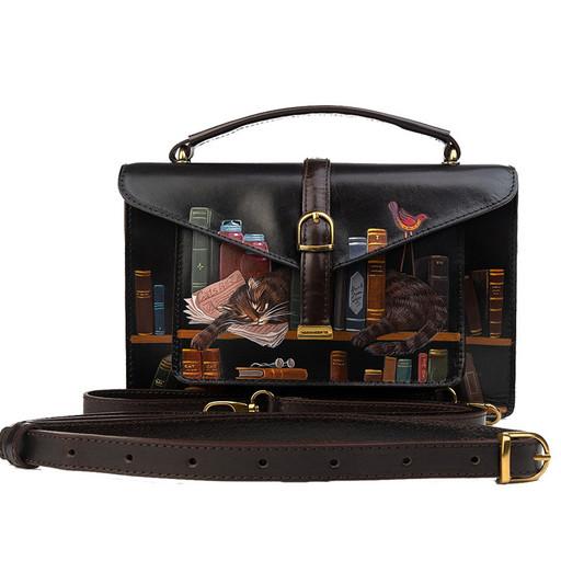 Маленькая, кожаная сумка - портфель с дизайнерским рисунком