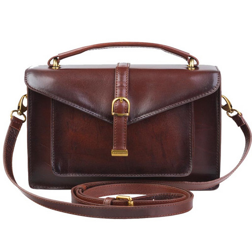 Маленькая, кожаная сумка портфель - унисекс