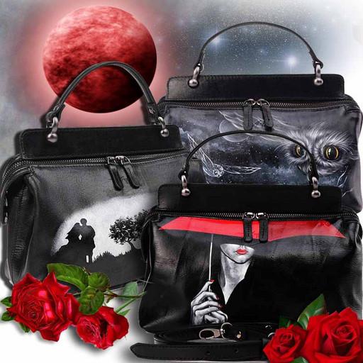 Женская черная сумка из гладкой кожи Краст с рисунком - ручная роспись