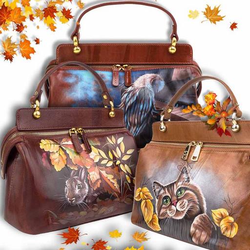 Женская коричневая сумка из гладкой кожи Краст с рисунком - ручная роспись