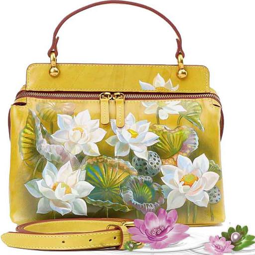 Женская сумка из гладкой кожи Краст с рисунком - Лотос