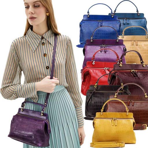 Женская сумка из мягкой телячьей кожи - выделка Croco