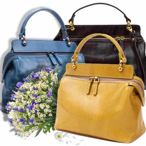 Женская сумка из натуральной гладкой кожи - Краст