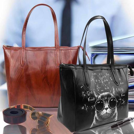Женская сумка из натуральной гладкой кожи - кожаная Тоут