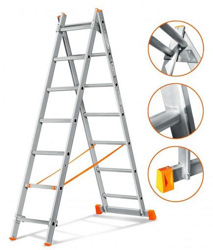 Двухсекционная лестница Гранит 2х7 «Эйфель»