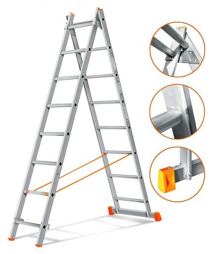 Двухсекционная лестница Гранит 2х8 «Эйфель»