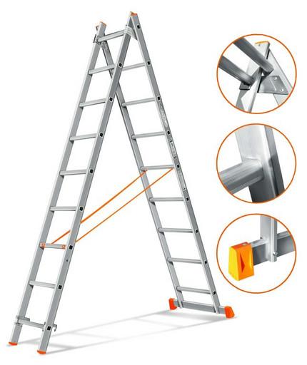 Двухсекционная лестница Гранит 2х9 «Эйфель»