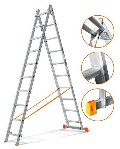 Двухсекционная лестница Гранит 2х10 «Эйфель»