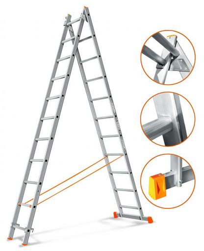 Двухсекционная лестница Гранит 2х11 «Эйфель»