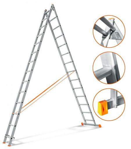 Двухсекционная лестница Гранит 2х14 «Эйфель»