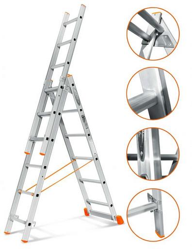 Трехсекционная лестница стандартного ресурса Гранит 3х6 «Эйфель»
