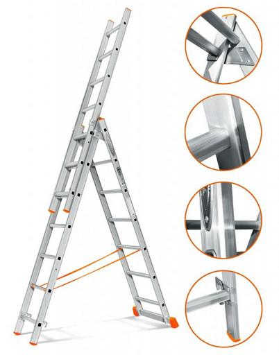 Трехсекционная лестница стандартного ресурса Гранит 3х7 «Эйфель»