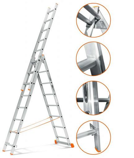 Трехсекционная лестница стандартного ресурса Гранит 3х8 «Эйфель»