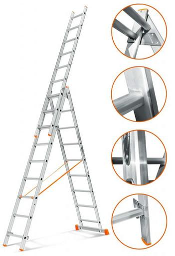 Трехсекционная лестница стандартного ресурса Гранит 3х9 «Эйфель»