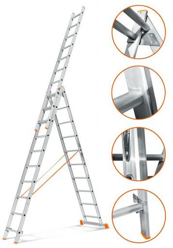 Трехсекционная лестница стандартного ресурса Гранит 3х10 «Эйфель»
