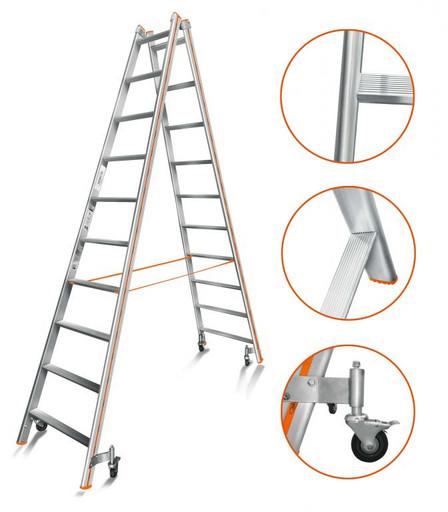 Лестница-стремянка двусторонняя Комфорт-Профи 210 Роллер «Эйфель»