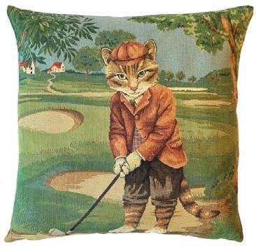 Кот гольфист 1 - наволочка гобеленовая