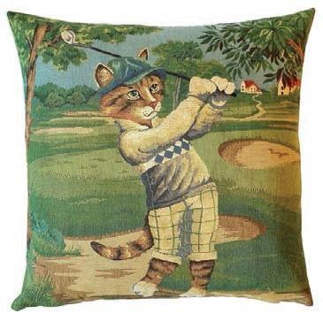 Кот гольфист 2 - наволочка гобеленовая